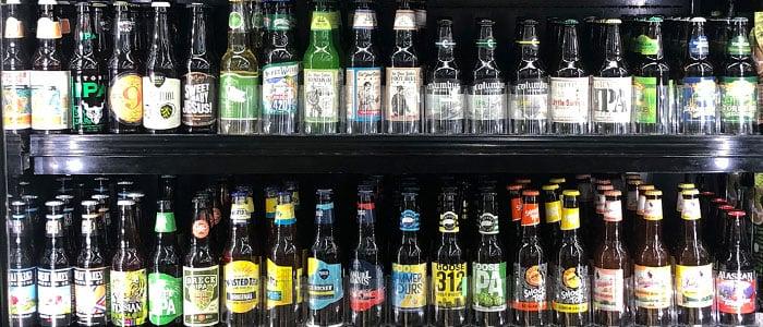 Craft beer bottle section