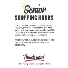 Senior Shopping Hours IGA Signage