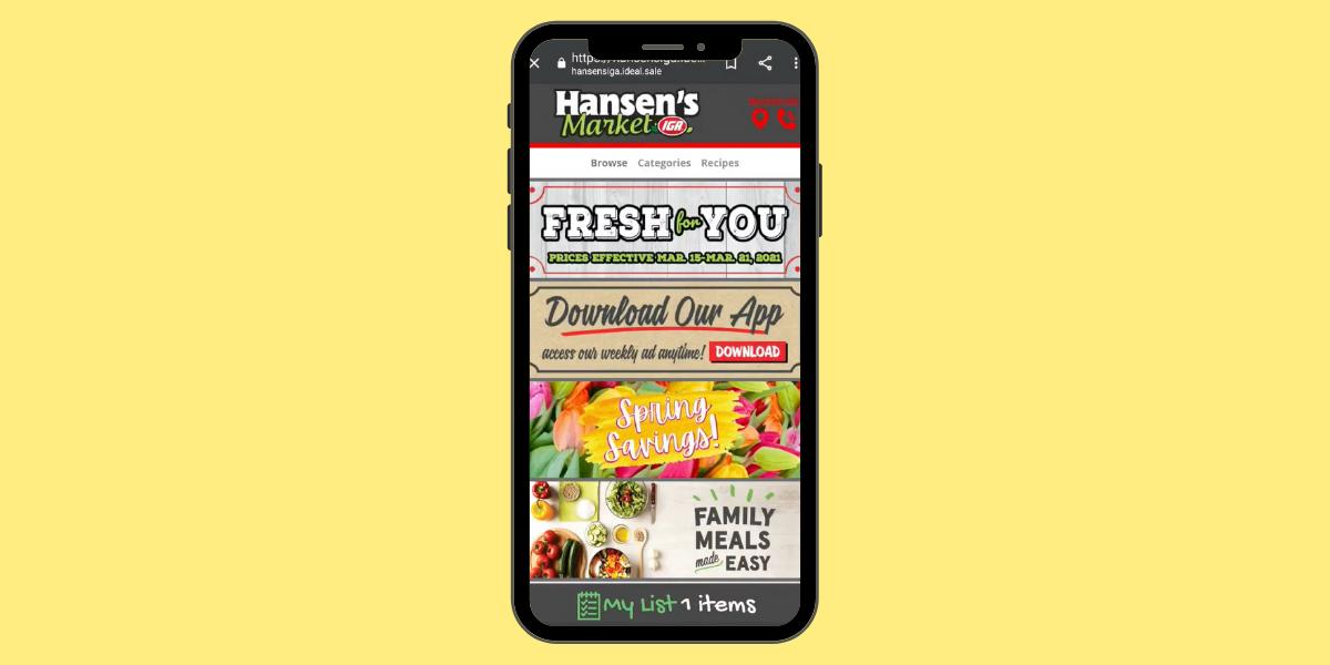 Hansen's Market IGA digital ad