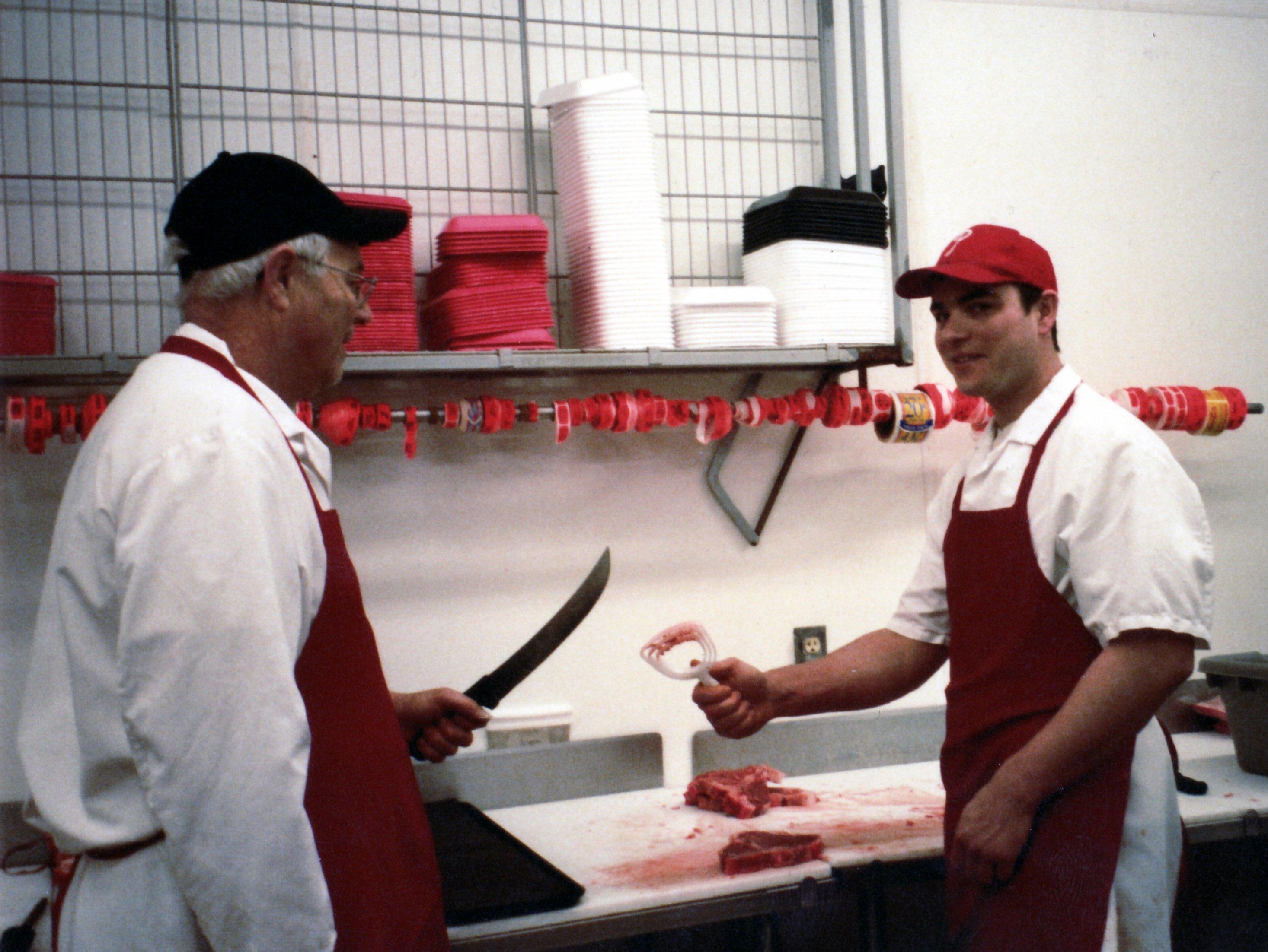 Ptacek IGA meat counter, Mike Ptacek and son Ralph Ptacek
