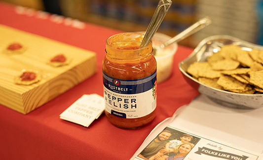 Pepper Relish dip with crackers displayed for tasting