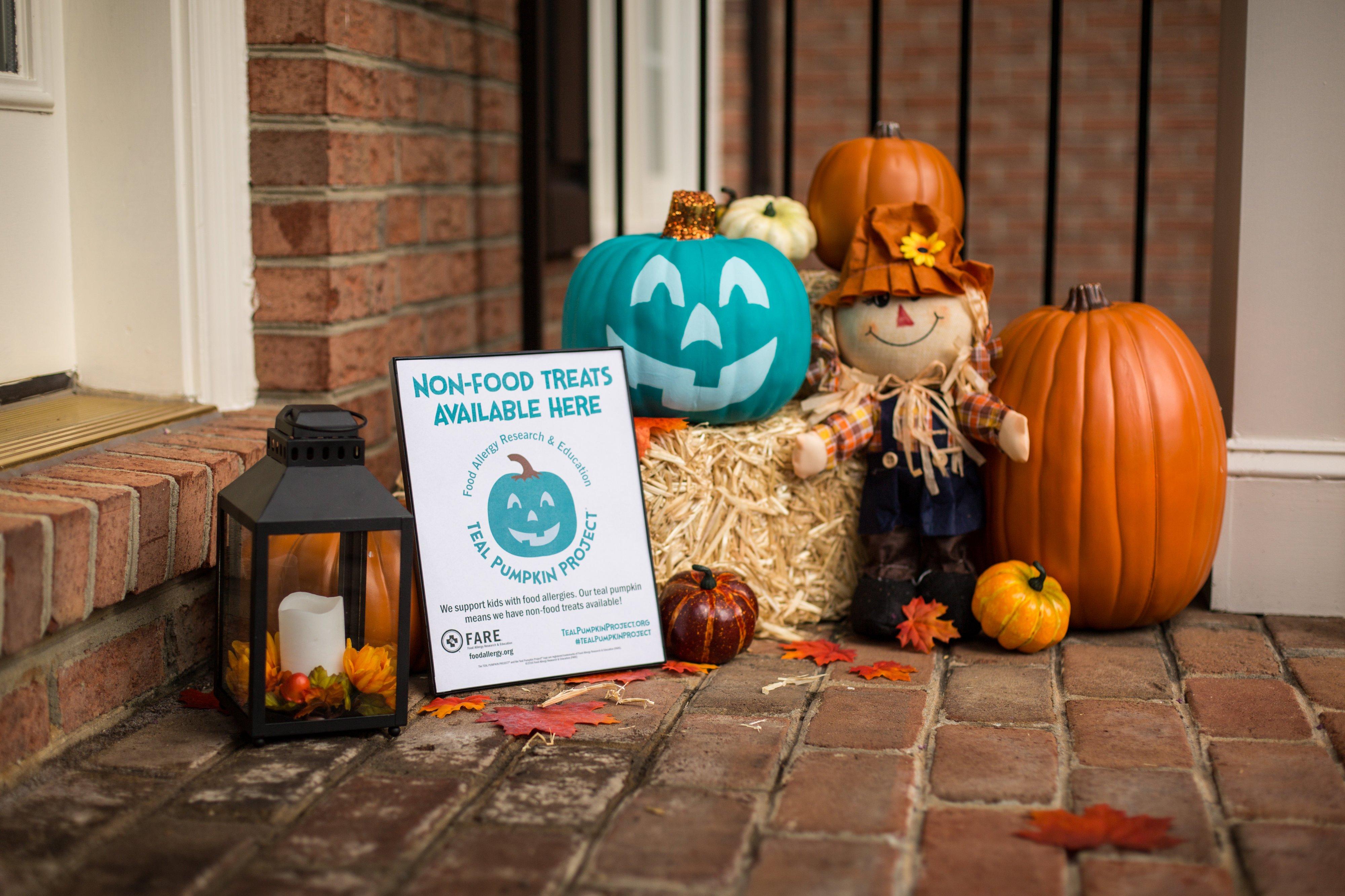 Teal Pumpkin Display With Signage