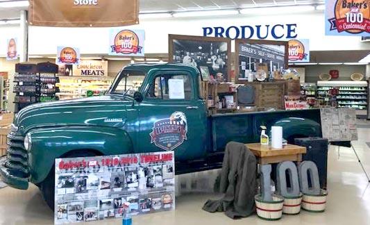 Antique truck display at Baker's IGA