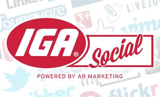 IGA Social logo on a background of social media logos