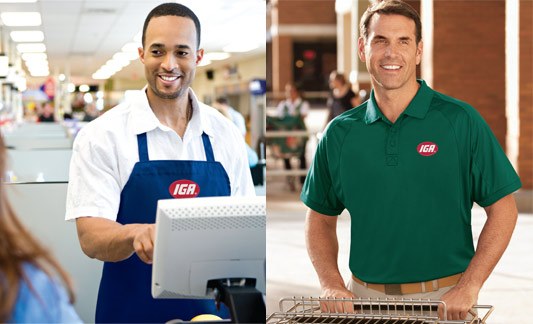 Employess wearing IGA brand apparel
