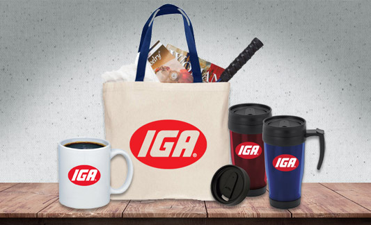 IGA branded items such as bag, coffee mugs, and travel tumblers