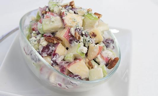Waldorf salad with lemon yogurt dressing