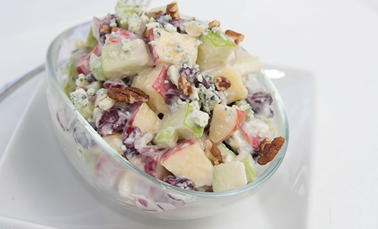 Waldorf salad with lemon yogurt dressing