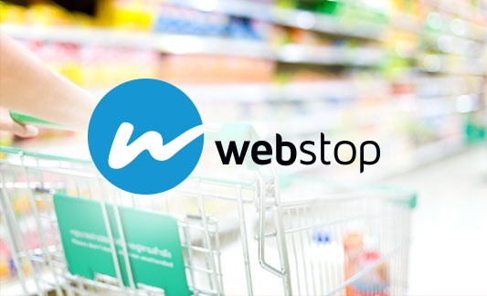 webstop logo over grocery isle image