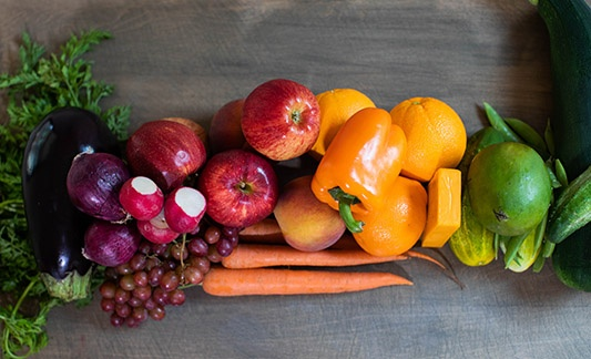 variety of produce on a table