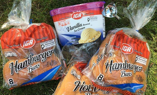 IGA ice cream and hamburger buns products