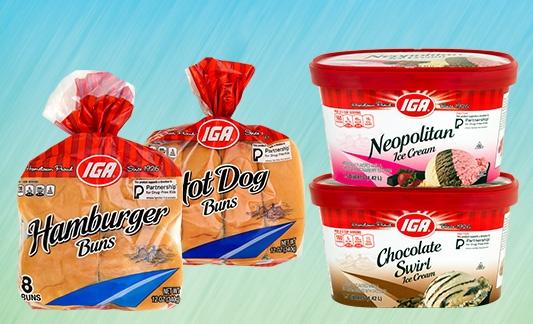 IGA hamburger, hot dogs and ice cream products