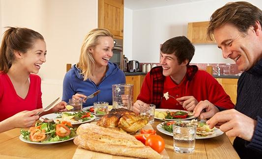 Family enjoying dinner time