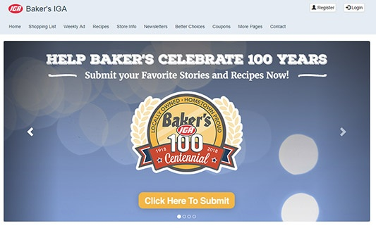Screenshot of Baker's IGA Website