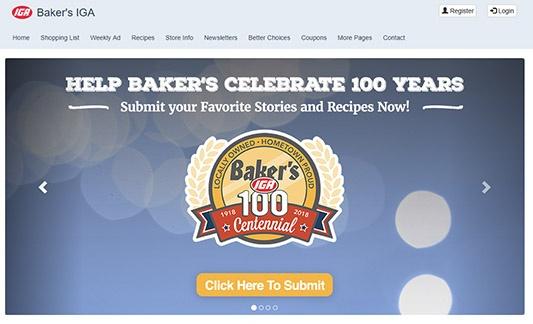 Screenshot of Baker's IGA Website