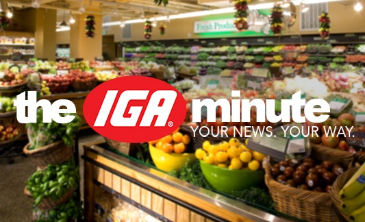 the IGA minute logo with a produce section in the background