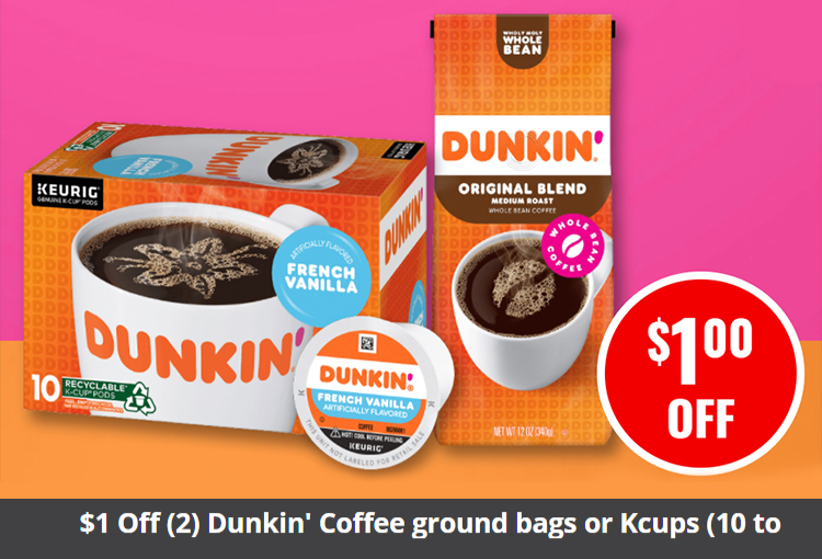 $1 Off (2) Dunkin' Coffee ground bags or Kcups (10 to 60 count, 10 to 20 oz.)