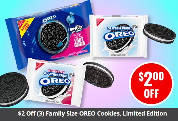$2 Off (3) Family Size OREO Cookies, Limited Edition or Gluten Free (12.2 oz. or larger)