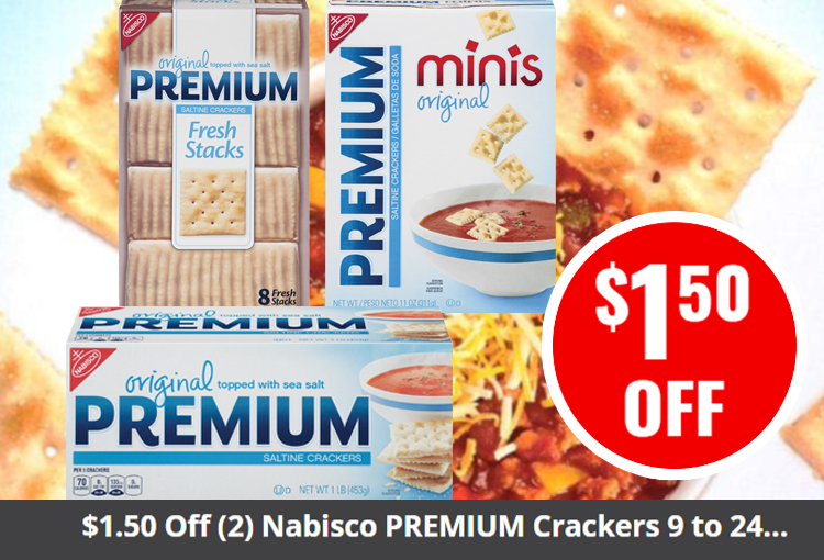 $1.50 Off (2) Nabisco PREMIUM Crackers 9 to 24 oz. and any (1) soup