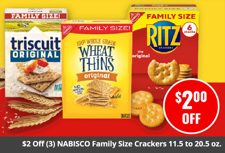 $2 Off (3) NABISCO Family Size Crackers 11.5 to 20.5 oz.