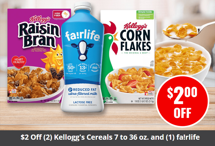 $2 Off (2) Kellogg's Cereals 7 to 36 oz. and (1) fa!rlife Milk 52 oz.