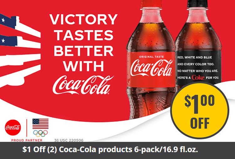 $1 Off (2) Coca-Cola products 6-pack/16.9 fl.oz.