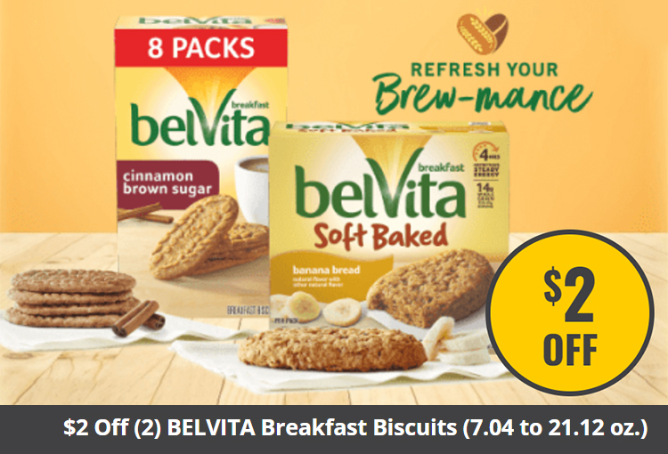 $2 Off (2) BELVITA Breakfast Biscuits (7.04 to 21.12 oz.) and any (1) Coffee