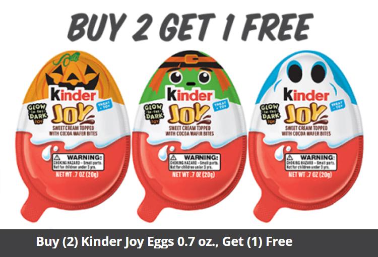 Buy (2) Kinder Joy Eggs 0.7 oz., Get (1) Free (Max $1.89 value)