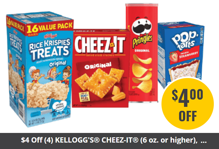 $4 Off (4) KELLOGG'S® CHEEZ-IT® (6 oz. or higher), RICE KRISPIES TREATS® (8-count or larger pack), POP-TARTS® (8-count or larger pack) and PRINGLES® Cannisters (5 oz. or higher)