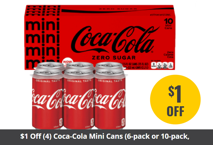 $1 Off (4) Coca-Cola Mini Cans (6-pack or 10-pack, 7.5 oz.)