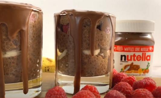 Nutella chia pudding in a glass