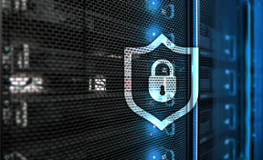 Security symbol on computer server