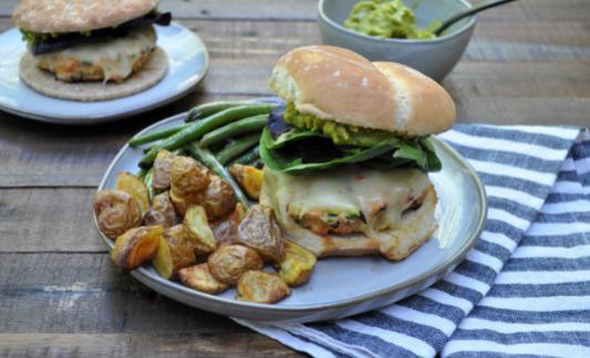 Southwest turkey burger on a dinner plate