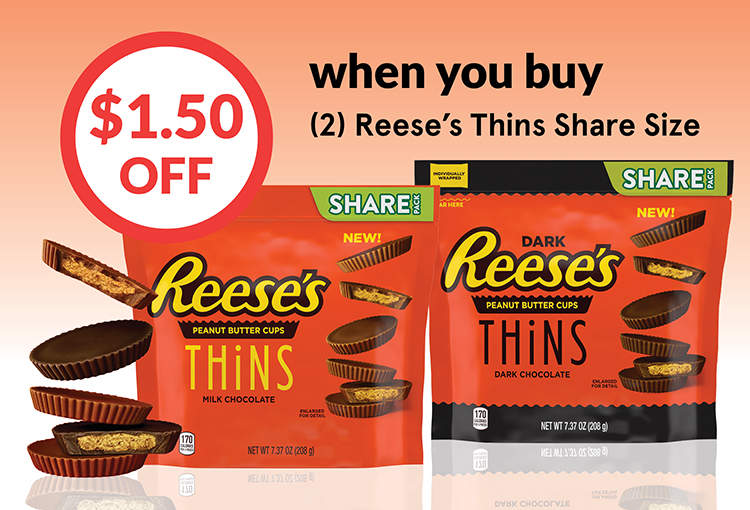 $1.50 Off when you buy (2) Reese's Thin Share Size