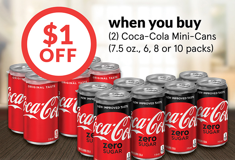 $1 Off when you buy (2) Coca-Cola Mini-Cans (7.5 oz., 6, 8 or 10 packs)