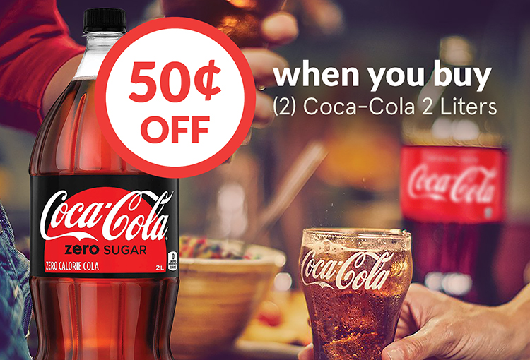 $0.50 Off when you buy (2) Coca-Cola 2 Liters