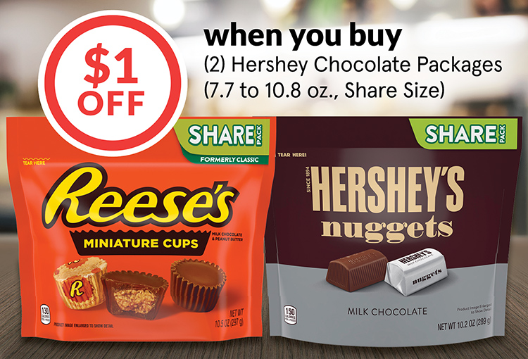 $1 Off when you buy (2) Hershey Chocolate Packages (7.7 to 10.8 oz., Share Size)