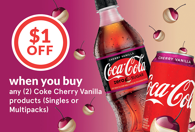 $1 Off when you buy any (2) Coke Cherry Vanilla products (Singles or Multipacks)