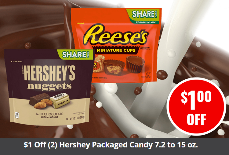 $1 Off (2) Hershey Packaged Candy 7.2 to 15 oz.