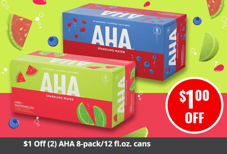 $1 Off (2) AHA 8-pack/12 fl.oz. cans