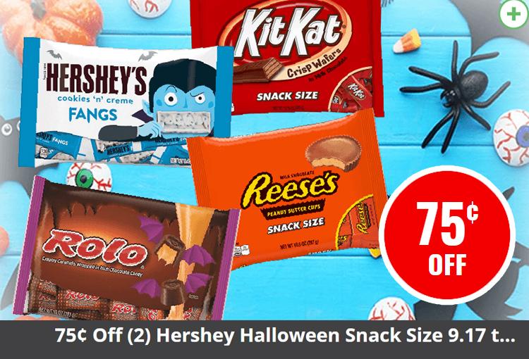 $.75 Off (2) Hershey Halloween Snack Size 9.17 to 22 oz.