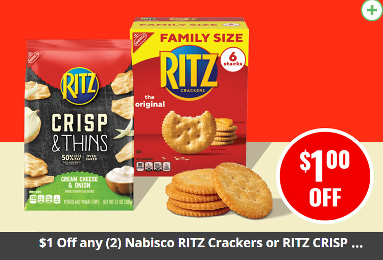 $1 Off any (2) Nabisco RITZ Crackers or RITZ CRISP & THINS (7.1 oz. or larger)